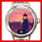 Ocean Lighthouse Sunset Round Italian Charm Wrist Watch 660