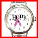 Pink Ribbon Hope Breast Cancer Round Italian Charm Wrist Watch 662