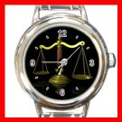 Scales Of Justice Attorney Legal Round Italian Charm Wrist Watch 665