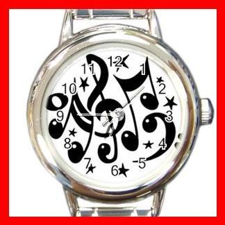 Musical Notes Hobby Fun Round Italian Charm Wrist Watch 670