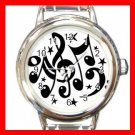 Musical Notes Hobby Fun Round Italian Charm Wrist Watch 670