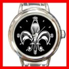 Fleur De Lis Silver On Black Round Italian Charm Wrist Watch 672
