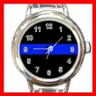 Thin Blue Line Police Officer Round Italian Charm Wrist Watch 673