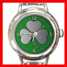 Lucky Irish Silver Shamrock Round Italian Charm Wrist Watch 675