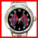 Rebel Flags Confederate South Symbol Round Italian Charm Wrist Watch 677