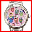 Happy Nesting Dolls Round Italian Charm Wrist Watch 681