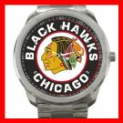 Chicago Blackhawks Hockey Silvertone Sports Metal Watch 32903592