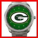 Green Bay Packers Football Silvertone Sports Metal Watch 32903599