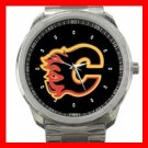 Calgary Flames Hockey Silvertone Sports Metal Watch 32903758