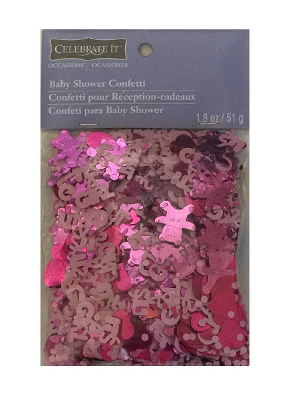 Pink Baby Shower Confetti - It's a Girl with Hearts & Teddy Bears