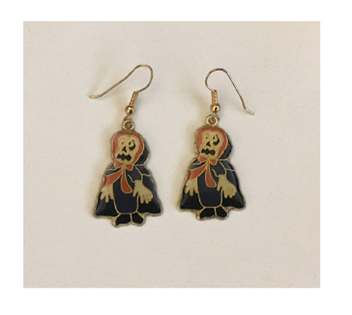 Vintage Scary Halloween Metal & Enamel Fish Hook Earrings
