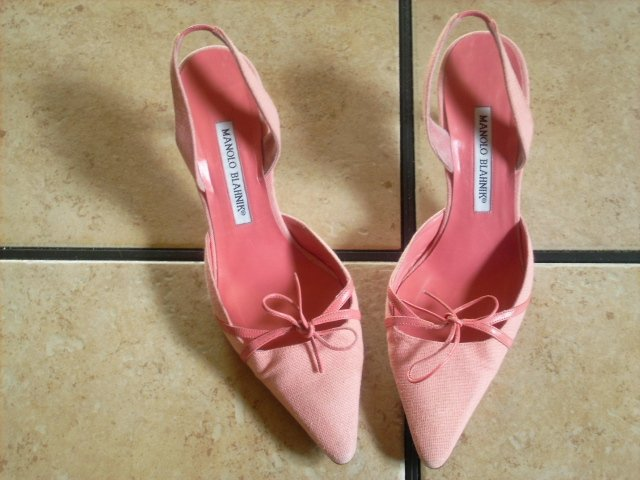 Manolo Blahnik Pink Leather/Canvas Bow Classic Dress Shoes