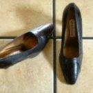 VTG. STEFANI BROWN LEATHER/SNAKESKIN  DRESS PUMPS SHOES