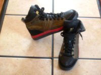 FILA WHITE LINE BLACK/RED/BRONZE LEATHER ATHLETIC SHOES