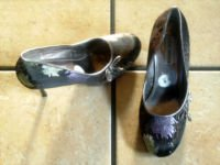 STEVE MADDEN MULTI-COLORED SATIN/LEATHER DRESS SHOES