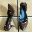 BIALA ITALY BROWN DISTRESSED LEATHER SLIPPER HEEL SHOES