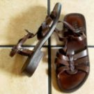 BASS AUDREY BROWN DISTRESSED LEATHER WEAVE SANDALS