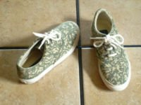 COLE HAAN GREEN/TAN CANVAS FLOWER LACE ATHLETIC SHOES