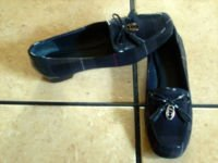 ETIENNE AIGNER BLUE PLAID FABRIC/LEATHER JEWELED SHOES