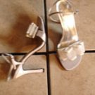 ANNE MICHELLE STUART GRAY SATIN SCARF SANDALS SHOES
