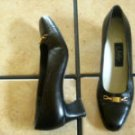 VTG. SELBY BLACK DISTRESSED LEATHER JEWELED DRESS SHOES