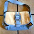 ADRIENNE VITTADINI BLUE LEATHER/CANVAS LUCITE HANDBAG
