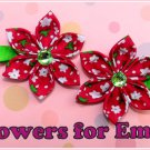 Watermelon Pink Kanzashi Hair Clips