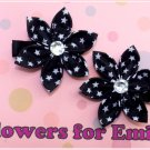 Black Stary Kanzashi Hair Clips