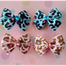 Leopard Flowers Bitsy Bows (2 pairs)