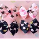 Grid Hearts Bitsy Bows (2 pairs)