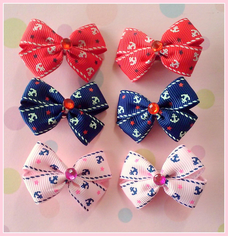 Nautical Anchors Bitsy Bows (3 pairs)