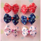 Nautical Anchors Bitsy Bows (3 pairs)
