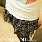 Lovely chiffon floral ruffle black mini skirt - small