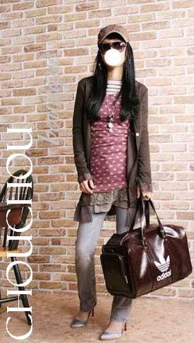 Stylish brown korea style long frill button cardigan - small