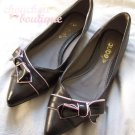 Super cute Korea Japan style lovely brown & pink bow pointed flat pumps - UK4