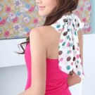 Cute sweet pink halter with polka dot ribbon chiffon tie - small