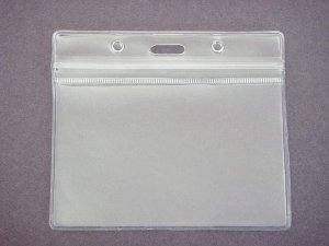 Clear Vinyl Badge I.D. Holders with Zip Lock Top 25 Pack - Name Tags- Office Supplies