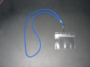 VINYL BADGE ID CARD / NAME TAG HOLDERS + LANYARD WITH SWIVEL CLIPS