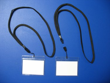 5 VINYL ID CARDS - NAME TAG HOLDERS + 5 NECK LANYARDS