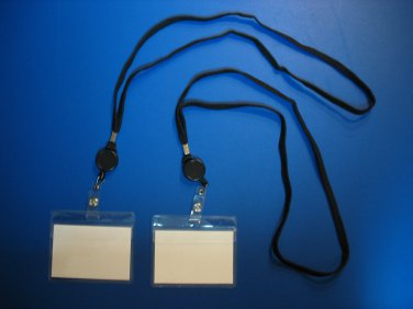 6 VINYL ID CARDS - NAME TAG HOLDERS + 6 LANYARD RETRACTABLE REEL BADGE CLIPS