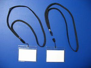 10 VINYL ID CARDS -  NAME TAG HOLDERS + 10 NECK LANYARD - BADGE CLIPS