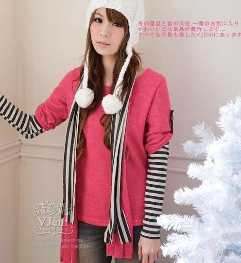 [RU-851778] Red Top : With Scarf :