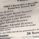 1965 CHEVELLE EXTERIOR TRIM  MOULDING TRIM SCREW KIT 26 SCREWS