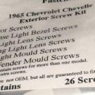 1965 CHEVELLE EXTERIOR TRIM MOULDING TRIM SCREW KIT