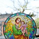 SAINT JOSEPH & BABY JESUS STAINED GLASS TRANSPARENT PLASTIC REUSABLE STICKER