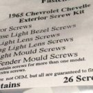 1965 CHEVELLE EXTERIOR MOULDING TRIM SCREW KIT 26pcs