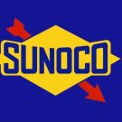 SUNOCO STICKERS 2 Peel Off GLOSSY PLASTIC 7 X 4 1/2 for EXTERIOR WINDOW FENDER