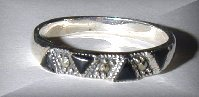 MARCASITE TRILLION CUT BLACK ONYX SILVER RING