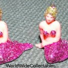 2 sweet 1960s Glitter NUDE FIGURAL Mermaids FLORIDA Charms