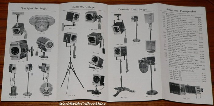 old illustrated SPOT LIGHTS ELECTRIC STAGE EFFECTS PROJECTION brochure catalog